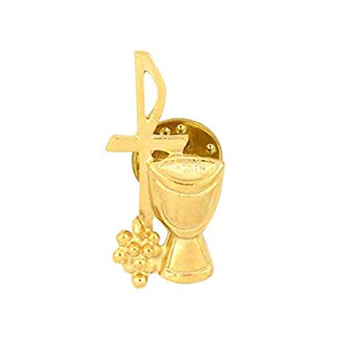 Needzo Gold-Tone First Communion IHS Chalice and Chi Rho Cross Pin with Prayer Card, 1 1/4 Inch