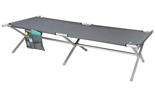 BERGER Feldbett Aluminium, grau, äußerst stabil mit Utensilientasche, Liegefläche 205 x 75 cm