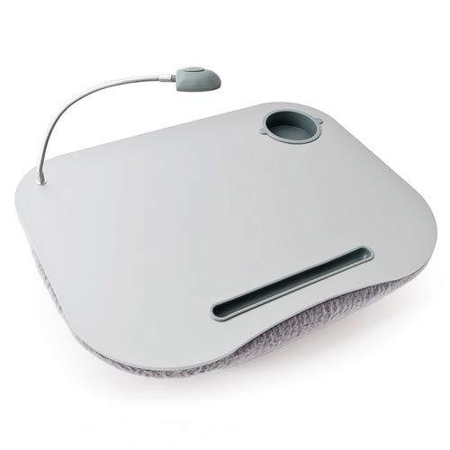Relaxdays 10012569 Mesa, Soporte para Ordenador portátil, Luces LED y portavasos, Blanco, 44x34x5 cm