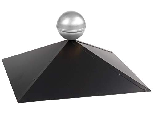 Pavillon-Haube 4-Eck mit Edelstahlkugel, Firsthaube schwarz matt