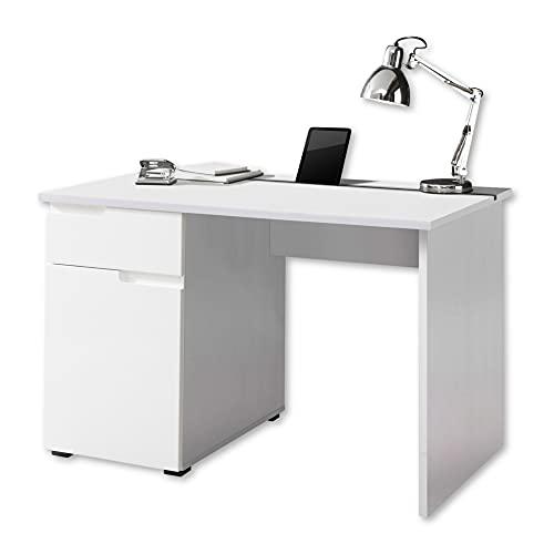Stella Trading SPICE Schreibtisch mit Schublade, Hochglanz Weiß - Bürotisch Computertisch fürs Homeoffice mit Stauraum und praktischer Tabletleiste - 120 x 76 x 67 cm (B/H/T)