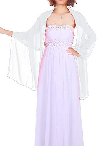Dressystar Chiffon Stola Schal für Kleider in verschiedenen Farben Weiß 200cm*50cm
