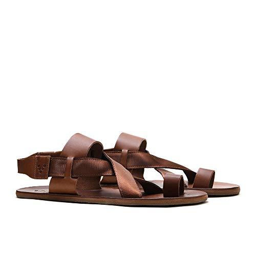 Vivobarefoot Womens Kuru Leather Textile Acorn Tan Sandals 7.5 US