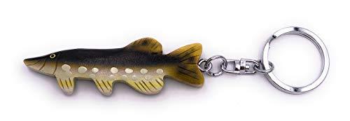 H-Customs Hecht Fisch Angeln Holz Edel Handmade Schlüsselanhänger Anhänger