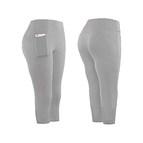 GJKK Damen Leggings Yogahosen Sporthose 3/4 Yogahose mit Taschen Jogginghose Yoga Sport Fitness Laufen Tights Laufhose High Waist Pants