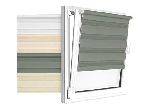 npluseins Doppelrollo in 4 Farben & in 8 Größen - mit Klemmfixierung am Fensterahmen und fest montierter Trägerschiene - kinderleichte 3-Step Montage, ca. 80 x 210 cm, hellgrau