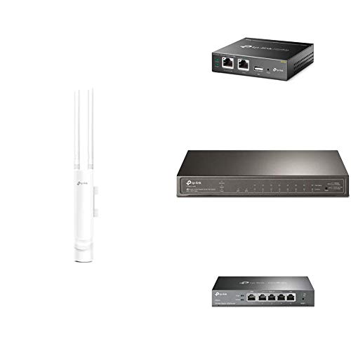 TP-Link Outdoor AC1200 Gigabit WLAN Access Point Für Garten + Omada Hybrid PoE Cloud Controller + Managed Switch 2xSFP + TL-R605