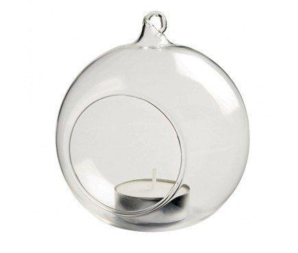 Teelichthalter zum Aufhängen, Glaskugeln, durchsichtig, 4 Stück, ideal für den Garten und Außenbereich, Durchmesser 8 cm