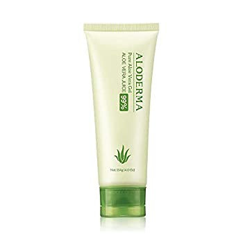 Aloderma Pure Aloe Vera Gel Made with USDA Organic certified Aloe Vera within 12 Hours of harvest  114g 4.0 oz  No Powder Concentrates Eco-Friendly