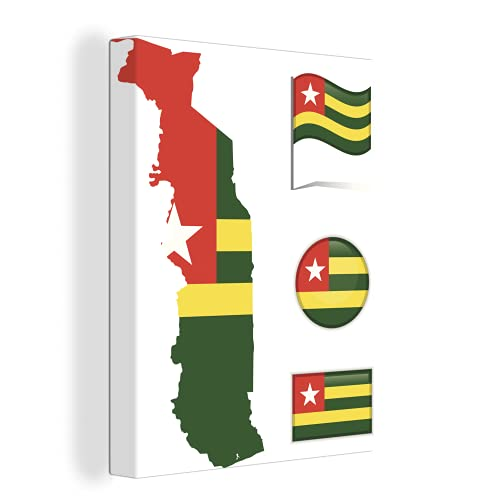 Leinwandbild - Verschiedene Abbildungen der Flagge von Togo - 90x120 cm