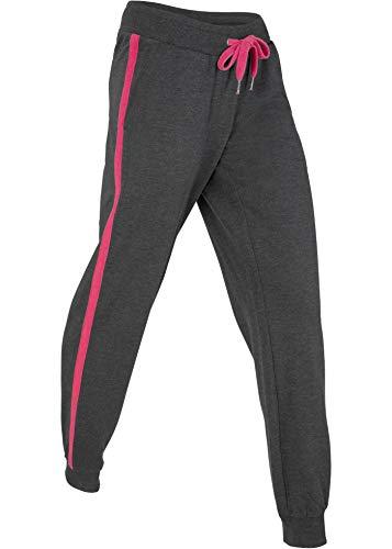 bonprix Komfortable Basic-Jogginghose mit Kordelzug und Kontrasteinsätzen schwarz/Dunkelpink meliert lang 40/42 für Damen