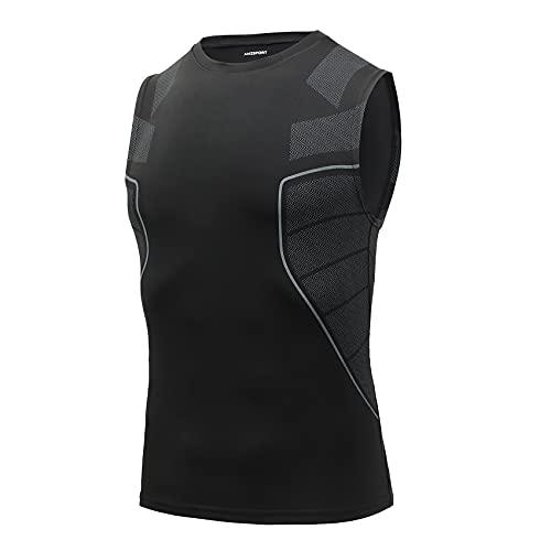 AMZSPORT Camiseta de Compresión Sin Mangas para Hombre Chaleco de Gimnasio Correr de Secado Rápido, Negro S