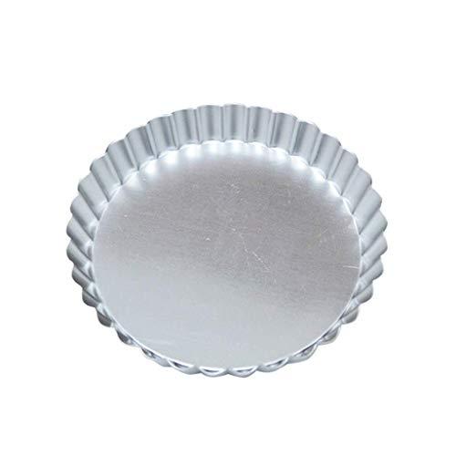 jiaju Bandeja de Fruta, Herramienta for Hornear Pizza Redonda + Bandeja Antiadherente Bandeja de Horno de Aluminio crisantemo Bandeja Pie, de Plata, Grande 7.6 * 0.9in, Medio 6.1 * 0.9in, Pequeño 3.9
