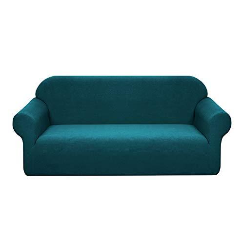 Granbest - Funda de sofá impermeable de 4 plazas con reposabrazos, revestimiento de sofá extensible jacquard para salón (4 plazas), color azul y verde