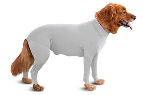 Shed Defender Original Dog Onesie-Seen On Shark Tank, Contains Shedding of Dog Hair for Home, Car, Travel,Anxiety Calming Shirt, Surgery Recovery Body Jumpsuit, E Collar Alternative(Heather Grey, L)