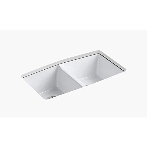 KOHLER K-5846-5U-0 Brookfield Under-Mount Double-Equal Bowl Kitchen Sink with 5 Oversized Faucet Holes, White