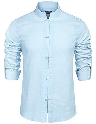 Coofandy COOFANDY Hemd Herren Leinenhemd Herren Freizeithemd Henley Ärmellänge Regular Fit Kragenloses Shirt