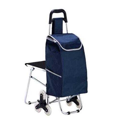 XBR Bolsas para Carrito de Compras, Mini Carrito de Compras de supermercado de aleación de Aluminio Ligero con sillas, 6 Ruedas, Azul