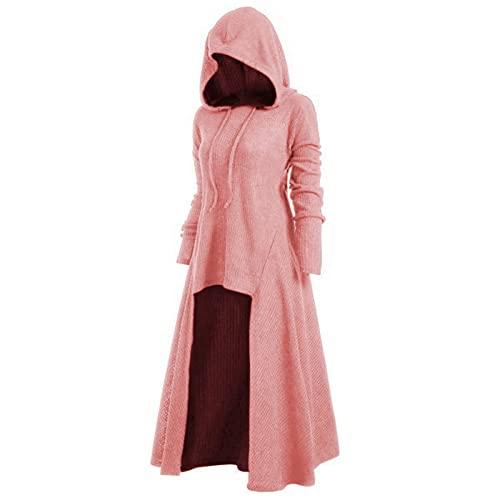 HOMISY Women Halloween Dress,Long Sleeve Halloween Costumes Cosplay Cloak Coat Retro Dress Drawstring Hooded Elasticity Pink
