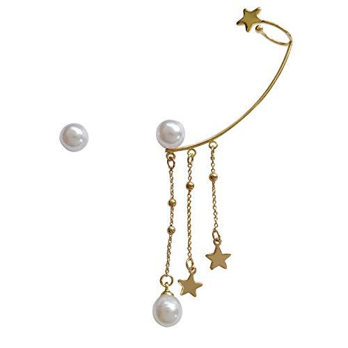 S925 Pendientes De Borla De Estrella Hermosa Con Aguja De Plata Pendientes De Perla Asimétricos