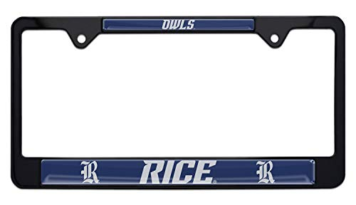 Elektroplate Rice Owls Black License Plate Frame