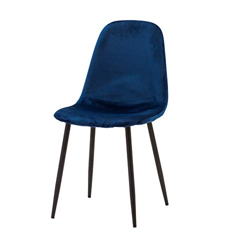 Cribel Set 4 SEDIE Ground Sky Plus Blue in Velluto, Sedia con Struttura in Metallo Tubolare e Seduta Imbottita in Poliuretano. Rivestita Interamente in Tessuto Vellutato, Blu, 443985 HS(47)