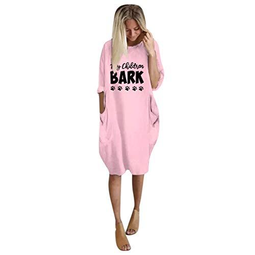 YanHoo Donna Vestito Pullover Baggy Stampa Manica Lunga Abito Bobycon Gown Girocollo Dress Jumper Casuale Oversized Sera Gonna