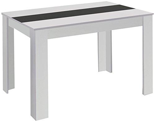 HOMEXPERTS Esstisch NICO / Küchentisch 140 cm / Esszimmertisch / Tisch in weiß / Wendeplatte in der Mitte wahlweise Schwarz oder Weiß / 140 x 80 x 75 cm (L x B x H)