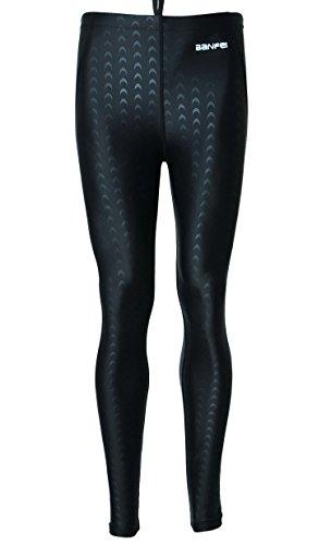 BANFEI - Costume da bagno da uomo, lungo, pantaloni da immersione, protegge il sole, leggings per sport, nuoto, surf, velo, sport nautico, taglia: XS-XL, Uomo, Noir(noir strie), EU L = Etiquette 2XL