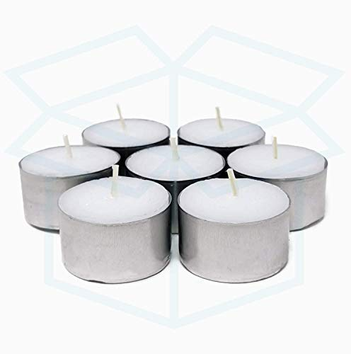 We Can Source It Ltd - 50 White Tea Light Candles Unscented Non-toxic - 8 Hours Burn Tealights - Perfect for Christmas, Valentines Day, Birthday Celebration