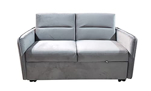Visco Therapy Modern and Versatile Velvet 2 Seater Guest Sofa Bed (Cream)