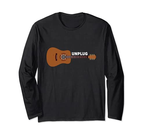 Guitarrista Unplug Guitarra Acústica Brújula Senderismo Camping Canción Manga Larga