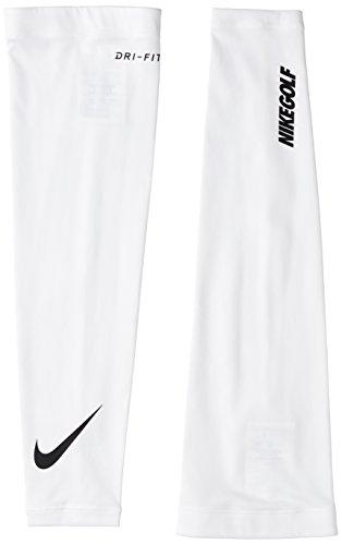 NIKE Unisex Dri-Fit Solar Arm Sleeve (White/Black, Medium/Large)