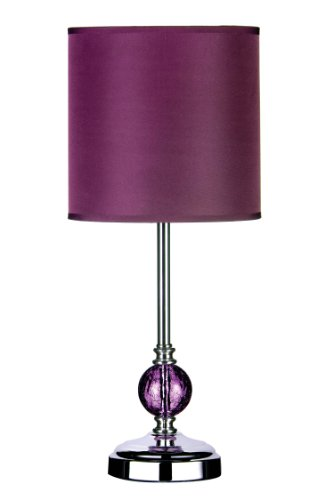 Premier Housewares Chrome Table Lamp with Purple Glass Ball and Purple Shade