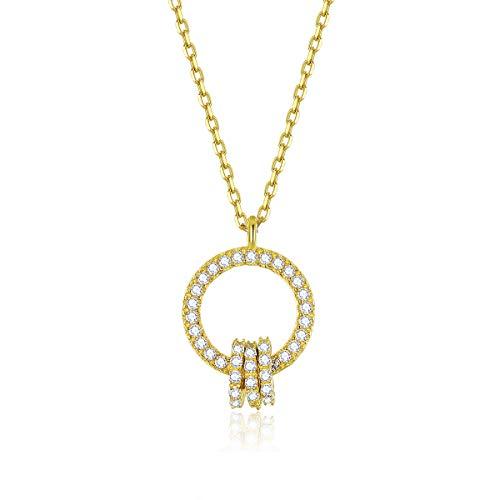 Bijoux Blu dubbele cirkel ronde hanger ketting voor vrouwen gouden kleur 925 sterling zilver geometrisch ontwerp bruiloft sieraden