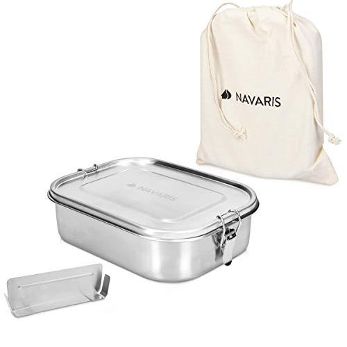 Navaris Boîte Repas Acier - Boîte à Repas hermétique 100% INOX avec Compartiment - Bento Box Anti Fuite avec loquet - Lunch Box sans BPA 1400 ML