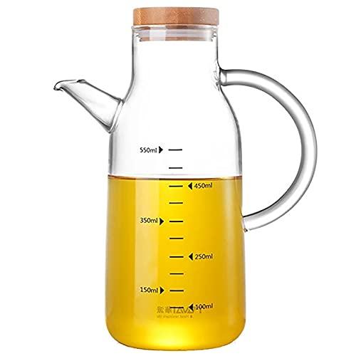 Dispensador de aceite de oliva de 550 ml con boquilla sin goteo tapa de acero inoxidable aceite de vidrio cruet vinagre botellas con escala