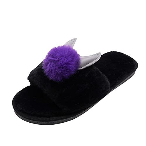 Dasongff Zapatillas de estar por casa para mujer, cómodas, de piel sintética, esponjosas, con dedos abiertos, con forma de animal, antideslizantes, con espuma viscoelástica