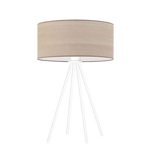 SIERRA ECO - Lámpara de mesa con pantalla de roble blanqueado, marco blanco