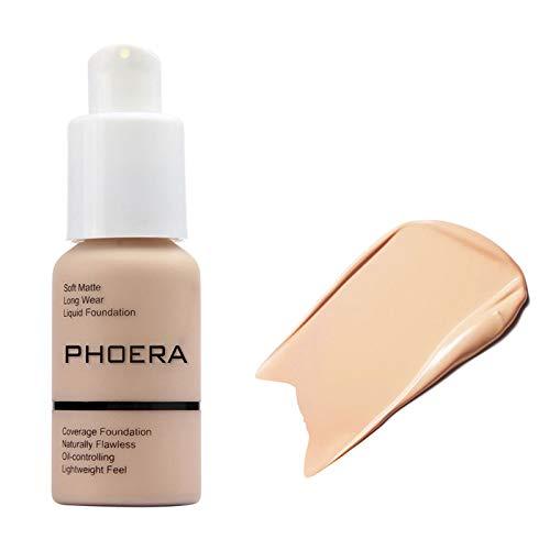 Freeorr Matte Phoera Foundation Creme, Matte Oil Control Concealer Langlebige wasserdichte Matte Liquid Foundation,102 Nude -30ml