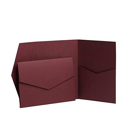 Einladungskarten, Klappkarten, burgunderrot, matt, faltbar, 130 x 185 mm, von Pocketfold Invites LTD. rot
