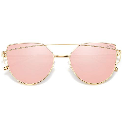 SOJOS Katzenauge Metall Rand Rahmen Damen Frau Mode Sonnenbrille Verspiegelt Linse Women Sunglasses SJ1001 mit Gold Rahmen/Rosa Linse