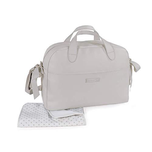 Pasito a Pasito. Bolsa para Carrito de Bebé Essentials. Bolsa Organizadora Práctica Elegante y con Espacio Amplio, Fabricada en Eco-leather de Color Gris. Medidas 43 X 31 X 16 cm.