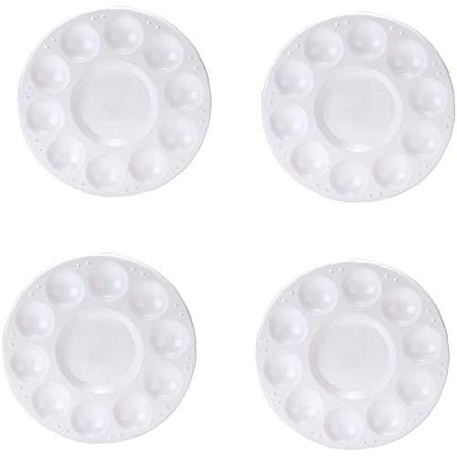 GAKIN Bandeja redonda para paleta de pintura, pintura al óleo, mezcla de acuarela, plástico, blanco, 4 unidades