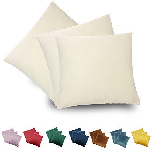CALIYO - Funda de cojín de Terciopelo, Universal, 2 o 3 Fundas de Almohada para Cojines Decorativos, Cojines de sofá, Cojines de sofá, 45 x 45 cm, Muchos Colores, Crema Blanca-2, 40 x 40 cm