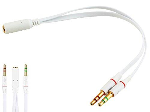 Audio Splitter Kabel Y Adapter Kopfhörer Headset 3,5mm Klinke Stereo Weiß