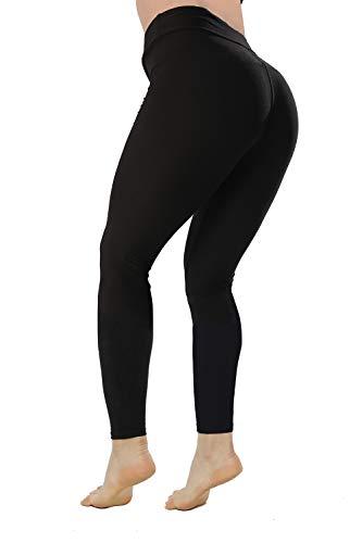 QYQ High Waisted Leggings -10+Colors -Soft Slim Pants for Women w Hidden Inner Pocket, Reg&Plus Size (Black, Plus Size)