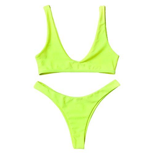Zaful Badeanzug, hoch geschnittener frecher Tanga-Bikini mit Rundhalsausschnitt, zweiteiliger Badeanzug für Frauen - Gelb - Small