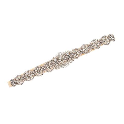 B Baosity Vintage Nupcial Diamantes de Imitación Perlas Apliques Faja Vestido de Novia Cinturón 5cm - Champán, 41 x 5 cm
