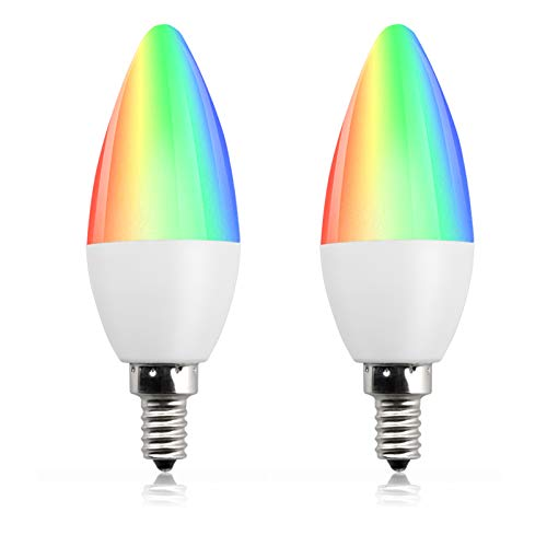 Bonlux lampadina RGB dimmerabile E14 candela led con telecomando, C35 forma di candela lampadina multicolore con Telecomando per per Bar Ristorante Stage Wedding bianco caldo 3000K (confezione da 2)